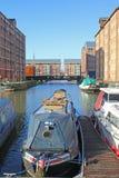 Gloucester Docks, England. Canal barge in Gloucester Docks Stock Photo