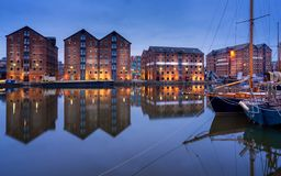 Gloucester doki i żagiel łodzie odbijali w quay na ciętość kanale zdjęcia royalty free