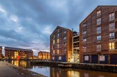 Gloucester doki przy półmrokiem fotografia royalty free