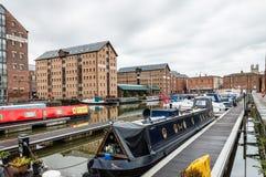 Gloucester doki przy zmierzchem fotografia royalty free