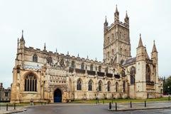 Gloucester domkyrka på skymning Arkivfoton