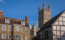 Gloucester domkyrkastad, England Arkivbilder
