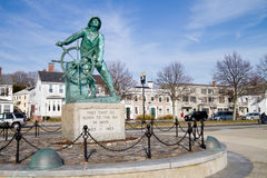 Gloucester Fishermans Memorial. (also known as: Man at the Wheel statue or Fishermens Memorial Cenotaph) is a historic memorial cenotaph sculpture on South Stock Image