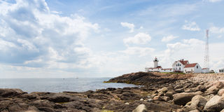 Gloucester Lighthouse. This is the Eastern Point Lighthouse sitting on a point of land extending from Gloucester Harbor in Massachuisetts Stock Image