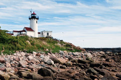 Gloucester Lighthouse Over Rocky Shore Stock Image