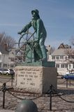 Gloucester, MA - March 20, 2010. The Fisherman Statue royalty free stock photos