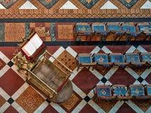 Gloucester, Reino Unido - 17 de agosto de 2011: Opinião de olho de pássaro do atril na catedral de Gloucester Fotografia de Stock
