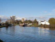 Gloucester y canal de la agudeza cerca Frampton-en-Severn, Gloucestershire, Reino Unido imagenes de archivo