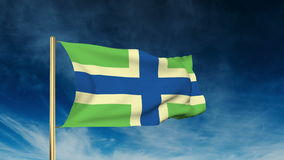 Gloucestershire flag slider style. Waving in the. Gloucestershire flag slider style. Waving with cloud background animation stock video footage