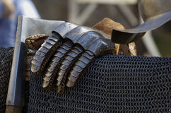 Glove and chainmail Knight Stock Photos