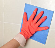 Glove cleaning Stock Photo