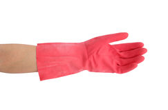 Glove for cleaning with hand on white background Stock Photography