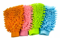 Glove colorful microfiber cleaning , on white background Stock Photos