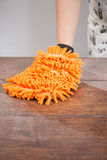 Glove with dishrag Royalty Free Stock Image