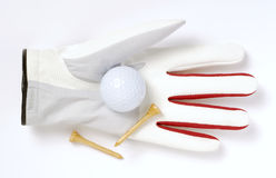 Glove, golf ball and tees Royalty Free Stock Photo