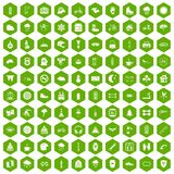 100 glove icons hexagon green. 100 glove icons set in green hexagon isolated vector illustration Stock Images