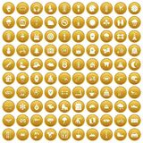 100 glove icons set gold. 100 glove icons set in gold circle isolated on white vectr illustration Stock Photography