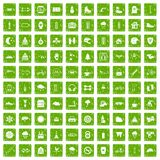 100 glove icons set grunge green. 100 glove icons set in grunge style green color isolated on white background vector illustration Stock Images
