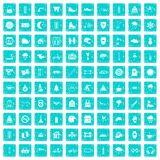 100 glove icons set grunge blue. 100 glove icons set in grunge style blue color isolated on white background vector illustration Royalty Free Stock Photo