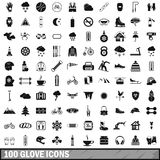 100 glove icons set, simple style Stock Photography