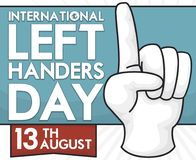Left Hand Glove Reminding to Celebrate International Left Handers Day, Vector Illustration. Glove for left handers, reminding at you to celebrate International royalty free illustration