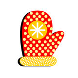 Glove with patterns on a white background.Merry Christmas illust. Glove with patterns on a white background Stock Photography