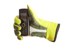 Glove and phone Stock Photography