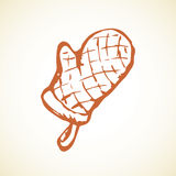 Glove potholder. Vector drawing Stock Photography