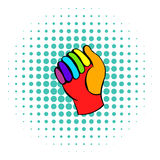 Glove in rainbow colors icon, comics style Stock Photography