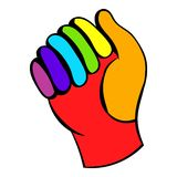 Glove in rainbow colors icon, icon cartoon Stock Photos