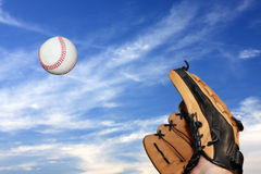 Glove reaching for baseball Stock Photography