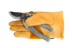 Glove and secateurs Royalty Free Stock Photography