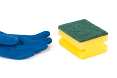 Glove and Sponge for Cleaning Stock Image