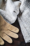 Glove on wool sweater Royalty Free Stock Photography