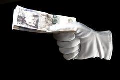 gloved удерживание руки замечает белизну фунта 20 Стоковое Изображение RF