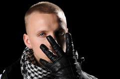 gloved человек хмеля вальмы руки стоковая фотография rf