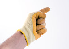 Gloved hand. Pointing (part of a set stock photography