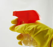 Gloved hand. With spray bottle stock image