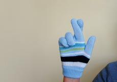 Gloved hand die vingers kruisen Stock Fotografie