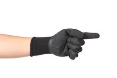 Gloved hand indicating the direction Royalty Free Stock Image