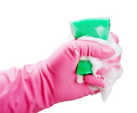 Gloved hand squeezes a sponge for cleaning Stock Image