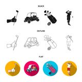 A gloved hand with a stick, a golf cart, a trolley bag with sticks in a bag, a man hammering with a stick. Golf Club set