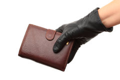 Gloved hands with Wallet Stock Images