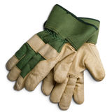 Gloves. A pair of gardener's protection gloves on white - with clipping path royalty free stock photography