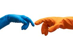 Gloves. Two hands in the colorful latex gloves Royalty Free Stock Photo