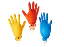 Gloves. Air-filled colorful latex gloves Stock Photography