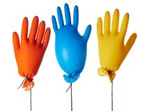 Gloves. Air-filled colorful latex gloves Royalty Free Stock Photography