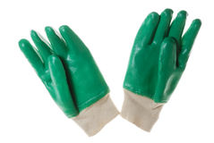 Gloves. Isolated Green Protecting Garden Gloves Royalty Free Stock Photo