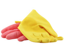 Gloves. Pink and yellow gloves. Isolated on white background royalty free stock photography