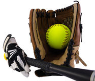 Gloves, ball and bat Stock Photography